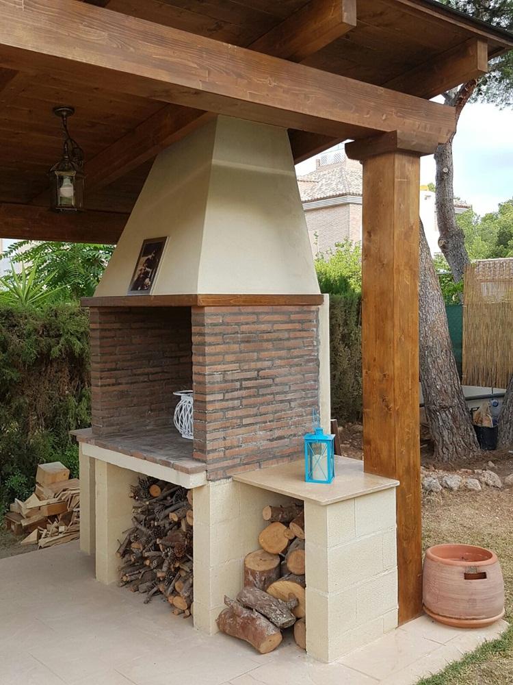 Paellero de obra en porche a 1 agua candel madera y obra - Porche de obra ...